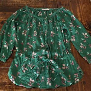 Rebecca Taylor Silk Floral Blouse Sz 4 Tie Front